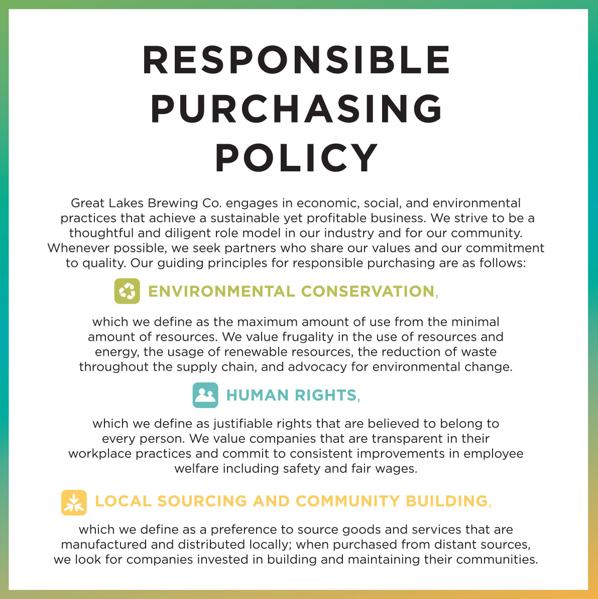 Great lakes brewing company cleveland ohio gift shop for Purchasing policies and procedures template